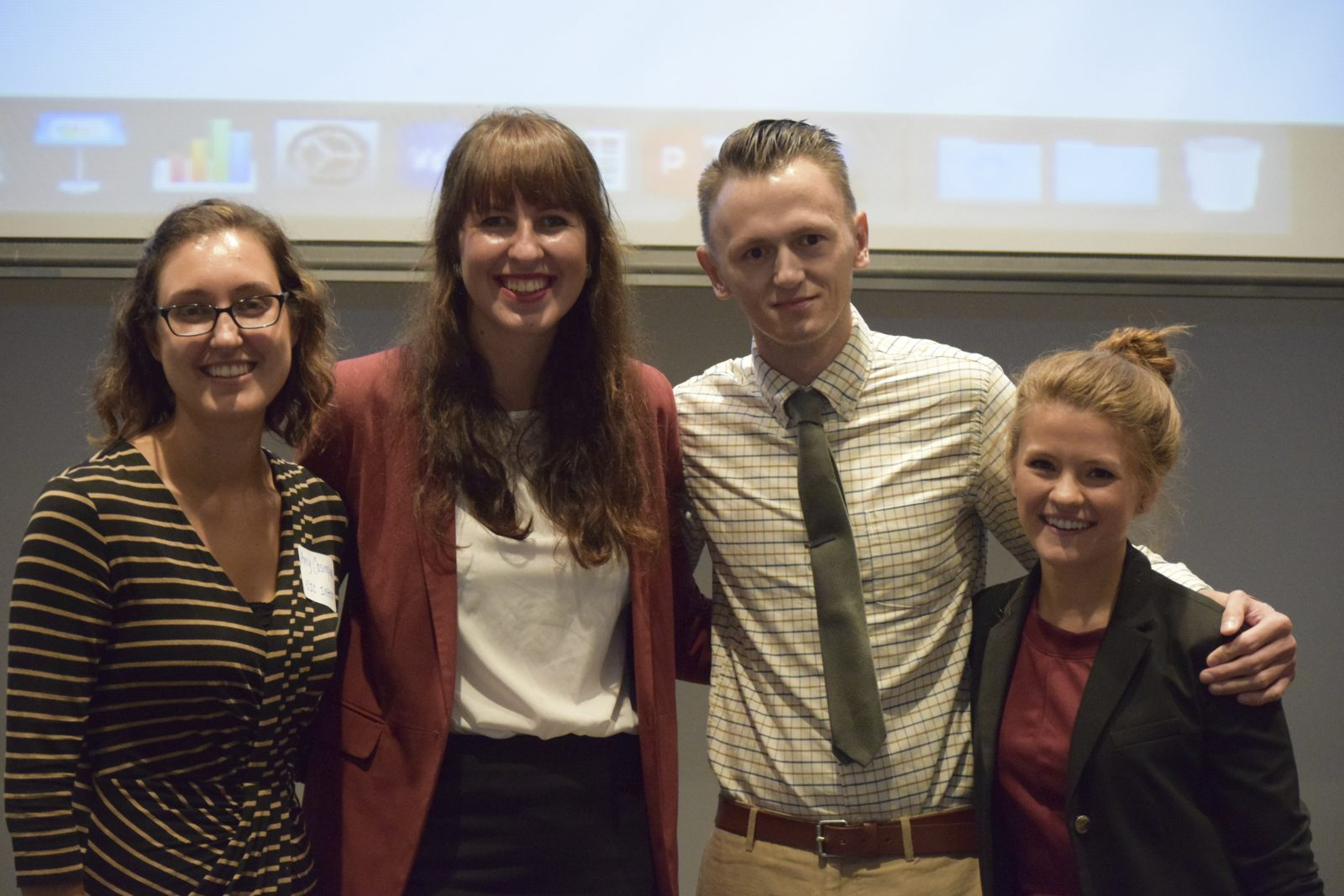 Four of the 2016 CIC interns getting ready to present at the annual CIC event. From left: AmyAmy Cosimini, Dagmara Franczak, Damir S. Utržan, Claire Hepworth